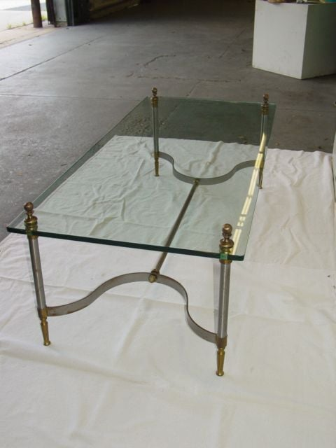 Elegant Brass And Steel Glass Coffee Table At 1stdibs