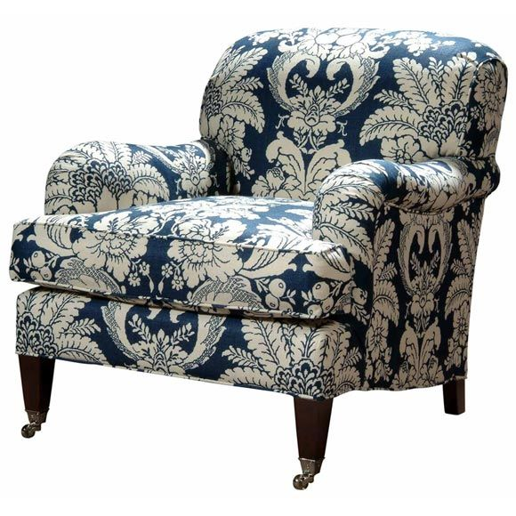 Tight Back Somerset Chair In Printed Belgium Linen At 1stdibs