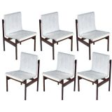 Set of Three Brazilian Dining Chairs in Rosewood and Leather