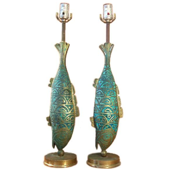 Incredible Mexican Bronze Fish Table Lamps 1