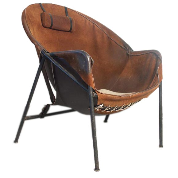 Merveilleux Luther Conover Steel And Suede Lounge Chair For Sale