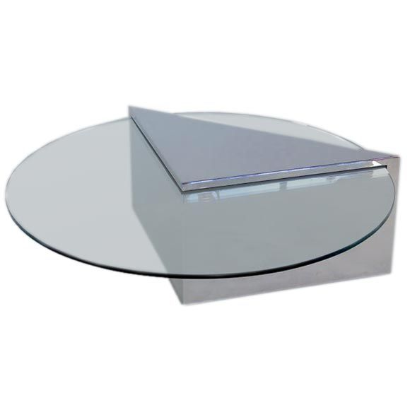 Chromed Steel Wedge Coffee Table Attributed To Pace At 1stdibs