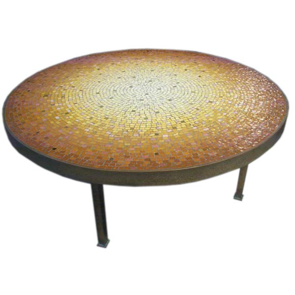 Fantastic Glass Tile Mosaic And Brass Coffee Table At 1stdibs