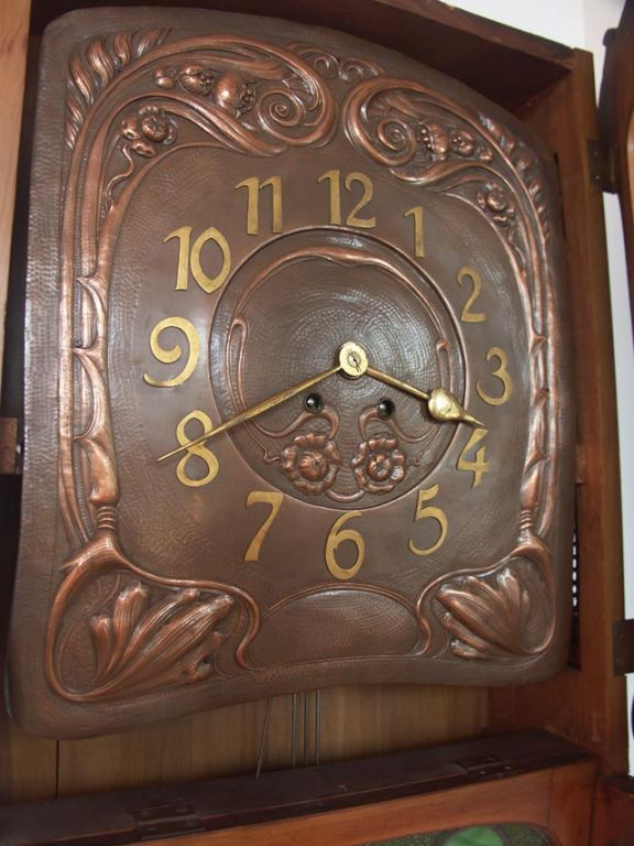 French Fruitwood Art Nouveau Wall Clock At 1stdibs