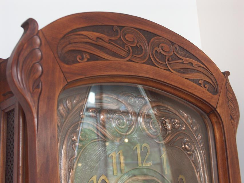 Wall Clock Art Nouveau : French fruitwood art nouveau wall clock at stdibs