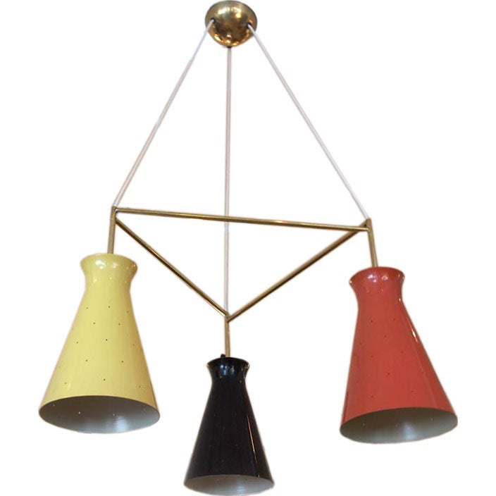 French 3 Cone Chandelier At 1stdibs