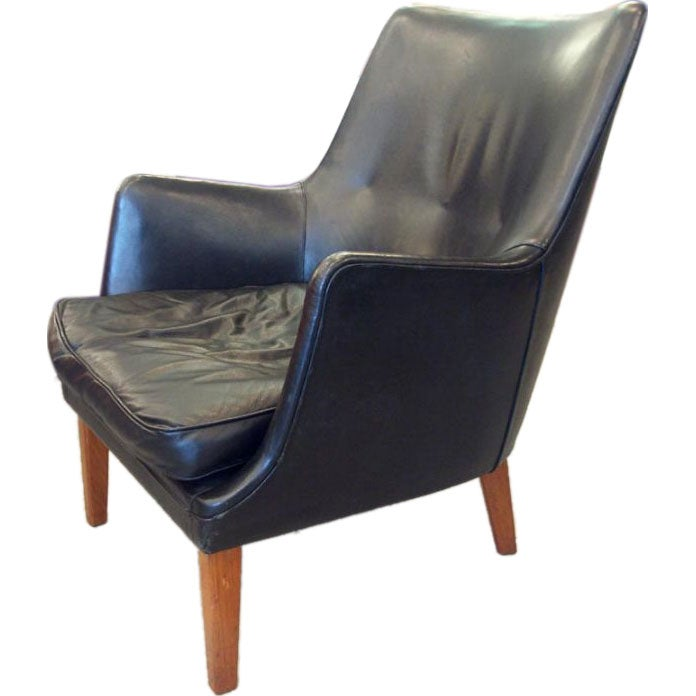 this sumptuous black leather easy chair by arne vodder is no longer