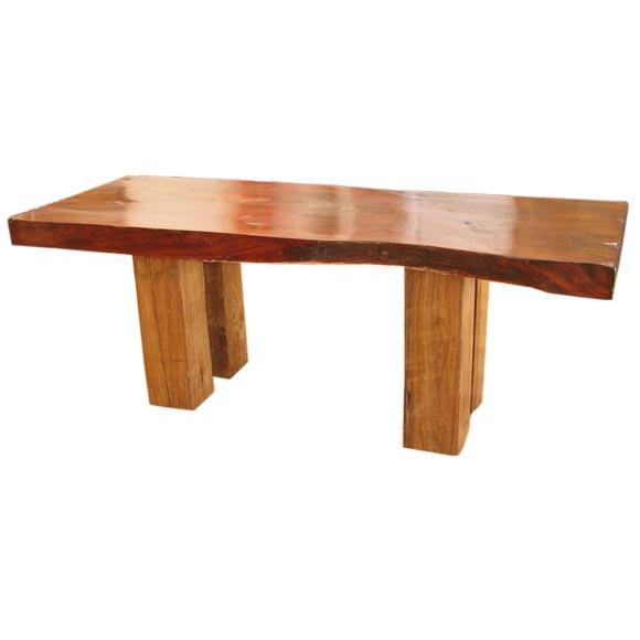 Antique Single Teak Slab Top Coffee Table At 1stdibs: An Extraordinary Teak Slab Dining Table At 1stdibs