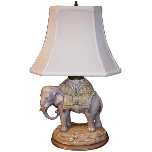 Austrian Porcelain Elephant Lamp For Sale At 1stdibs