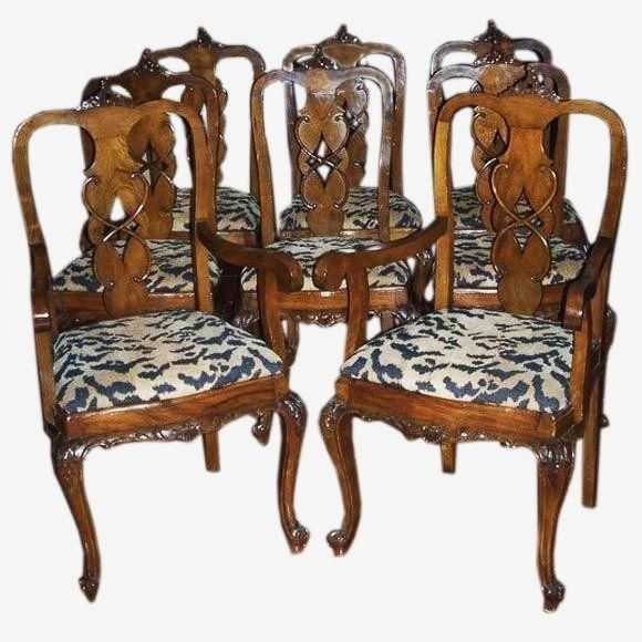 Set Of Eight English Rococo Style Walnut Dining Chairs At