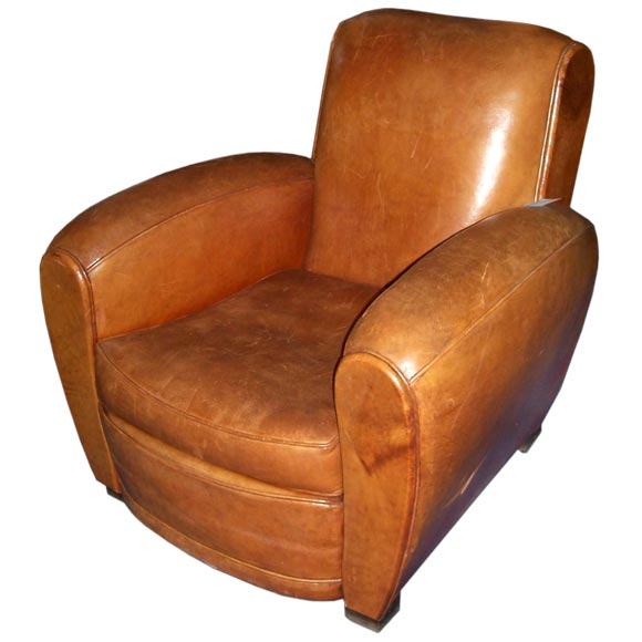 Art Deco Leather Club Chair At 1stdibs