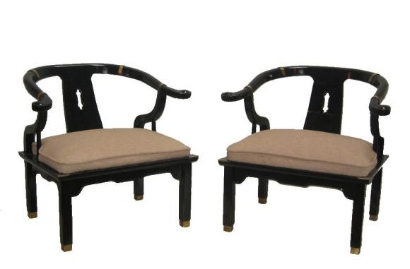Pair Of Vintage Asian Horseshoe Chairs 1