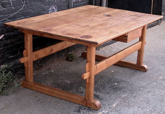 Wonderful Antique Trestle Table Or Farm Table 2