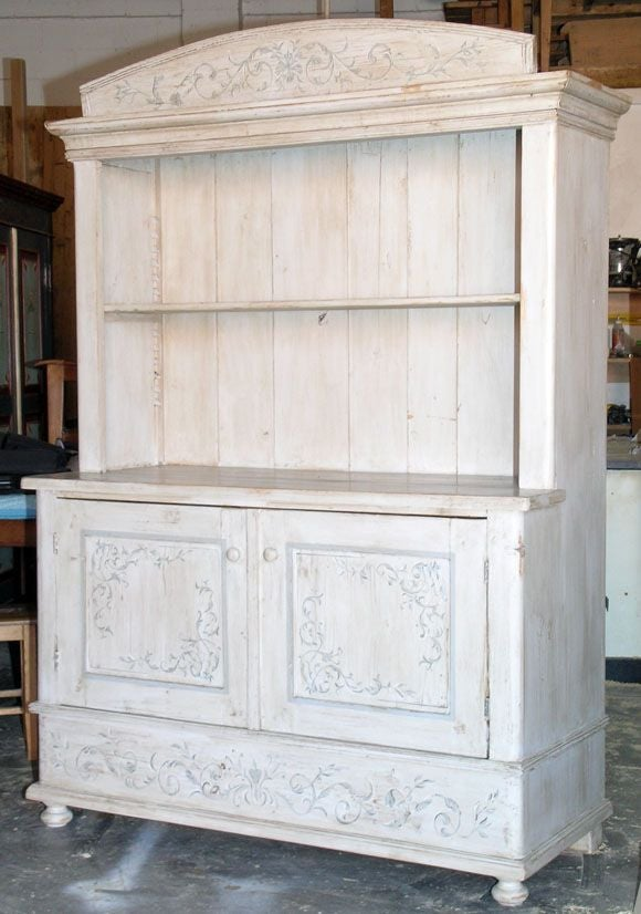 Painted Antique Hutch Buffet At 1stdibs