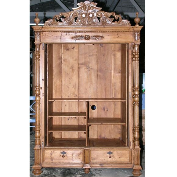 Antique Russian Armoire with Pocket Doors In Excellent Condition For Sale  In Los Angeles, CA - Antique Russian Armoire With Pocket Doors At 1stdibs