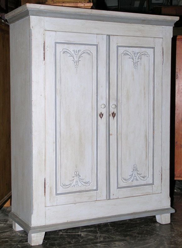 Small Armoire Painted In Gustavian Style At 1stdibs