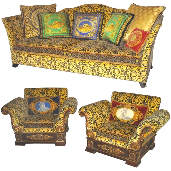 Gianni Versace Sofa And Pair Of Club Chairs At 1stdibs