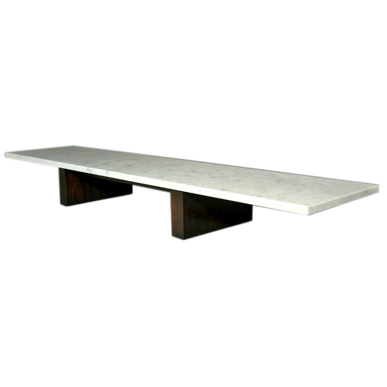 Long Low Coffee Table: Long And Low Rosewood Coffee Table With Thick Marble Top