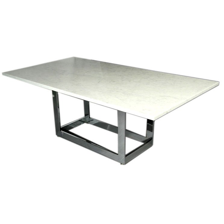 Milo Baughman marble top dining table with chrome base at  : chromebasewhitemarbletopdiningtable1 from 1stdibs.com size 744 x 744 jpeg 23kB