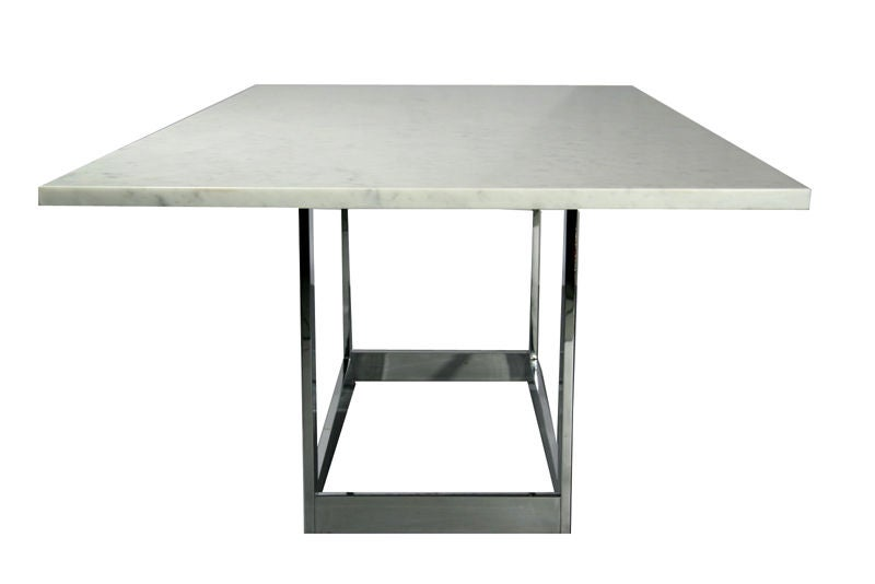 Milo Baughman Marble Top Dining Table With Chrome Base At 1stdibs