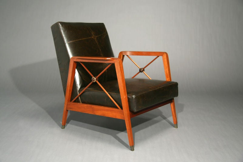 Pair of exotic wood and leather chairs by cavallaro