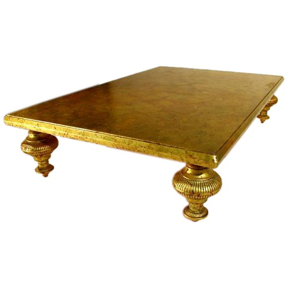 Gold Leaf Cocktail Table By Monteverdi Young For Danny Thomas At 1stdibs