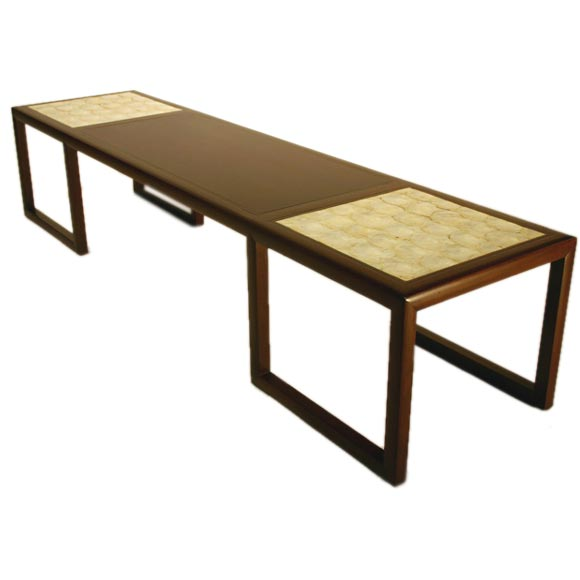 Round White Capiz Coffee Table: Mahogany And Brass Coffee Table With Capiz Shell Inlaid