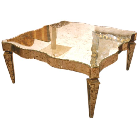 mirrored gold veined coffee table by grosfeld house at 1stdibs