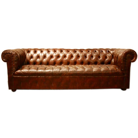 Brown leather chesterfield sofa with bronze tacks at 1stdibs Chesterfield brown leather sofa