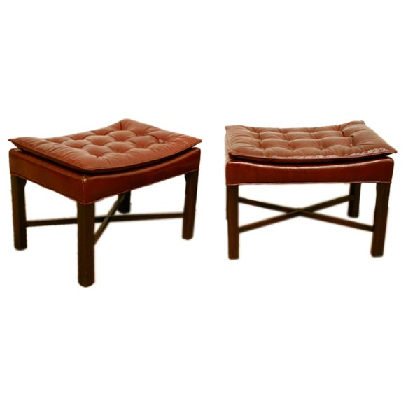 Pair Of X Base Ottomans In Leather At 1stdibs