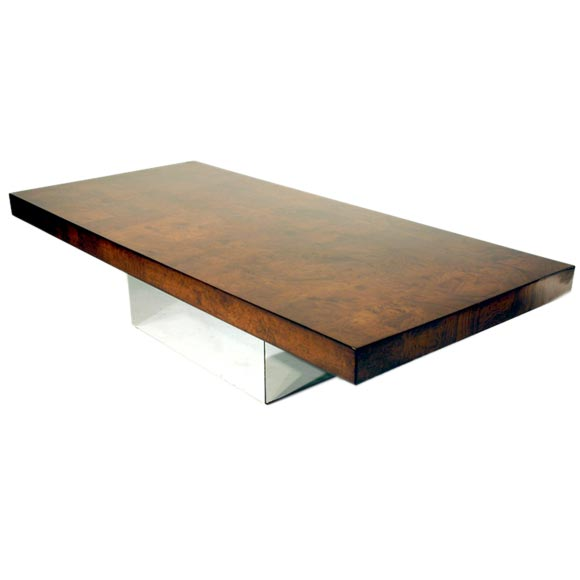 Burled Wood Coffee Table With Chrome Base By Milo Baughman At 1stdibs