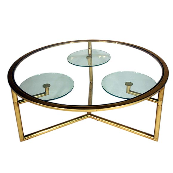 Round italian glass top brass coffee table at 1stdibs