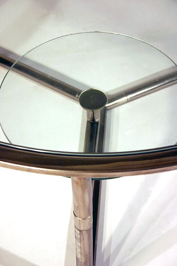Round Italian Glass Top Chrome Coffee Table At 1stdibs