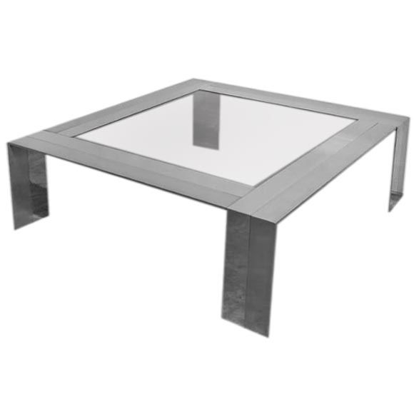Brushed Aluminum Coffee Table: Chrome And Brushed Steel Coffee Table, Pierre Cardin