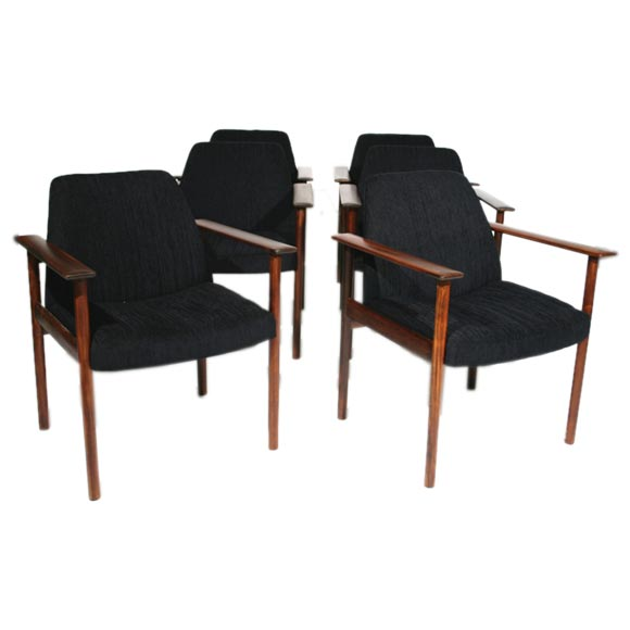 Set of 6 rosewood dining chairs with black chenille fabric for Black fabric dining room chairs