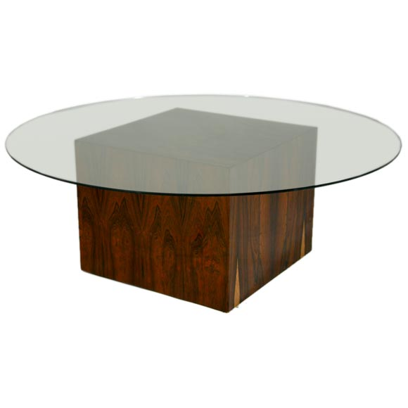 Rosewood cube glass top cocktail table by harvey probber for Glass cube coffee table