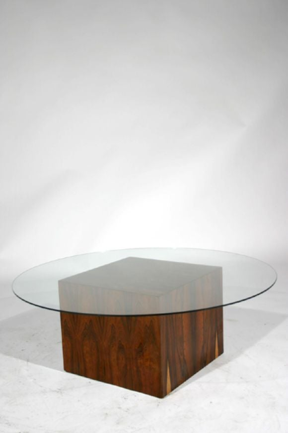 rosewood cube glass top cocktail table by harvey probber