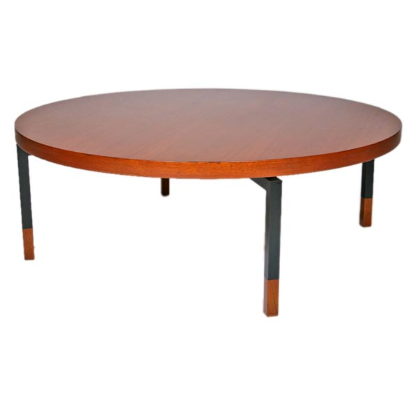 Round Teak Coffee Table With Metal Legs By Illums Bolighus At 1stdibs
