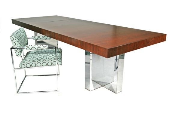 T shaped chrome base dining table by milo baughman at 1stdibs for T shaped dining room