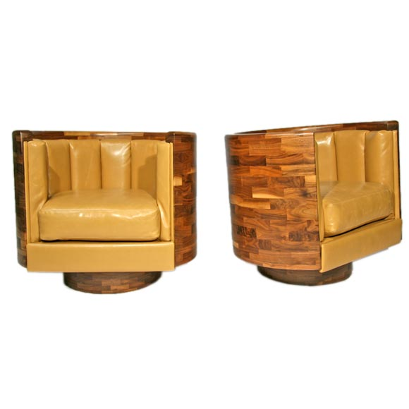 Laminated walnut and leather swivel tub chairs at 1stdibs for Leather swivel tub chair
