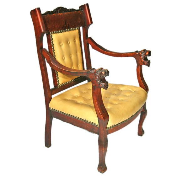 Antique Lion S Head Leather And Wooden Arm Chair At 1stdibs