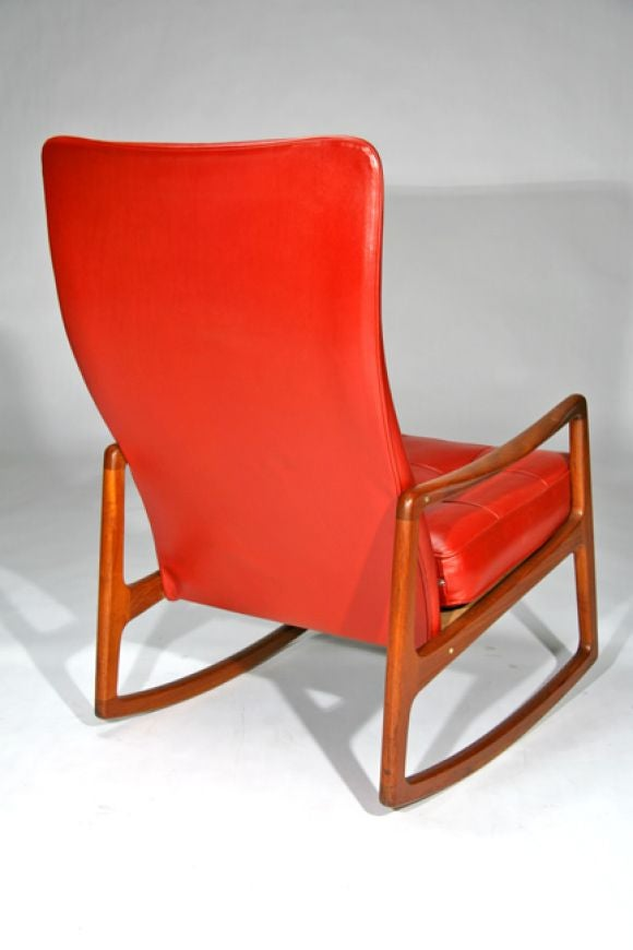 Red Leather Rocking Chair ~ Solid teak rocking chair in leather by ole wanscher at stdibs