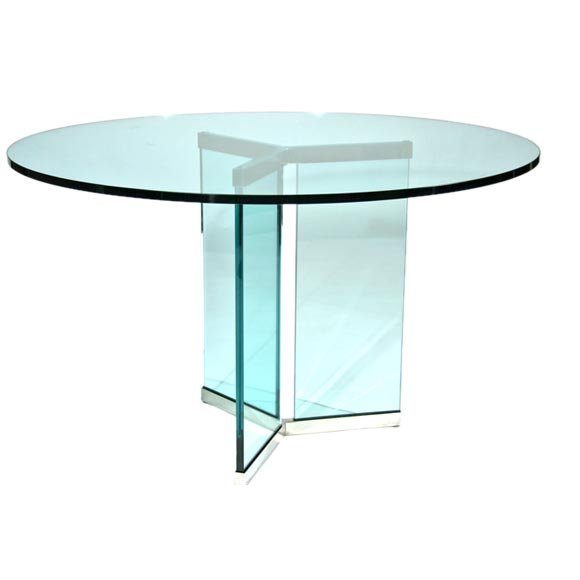 Collection Polished Stainless Steel And Glass Dining Table At 1stdibs