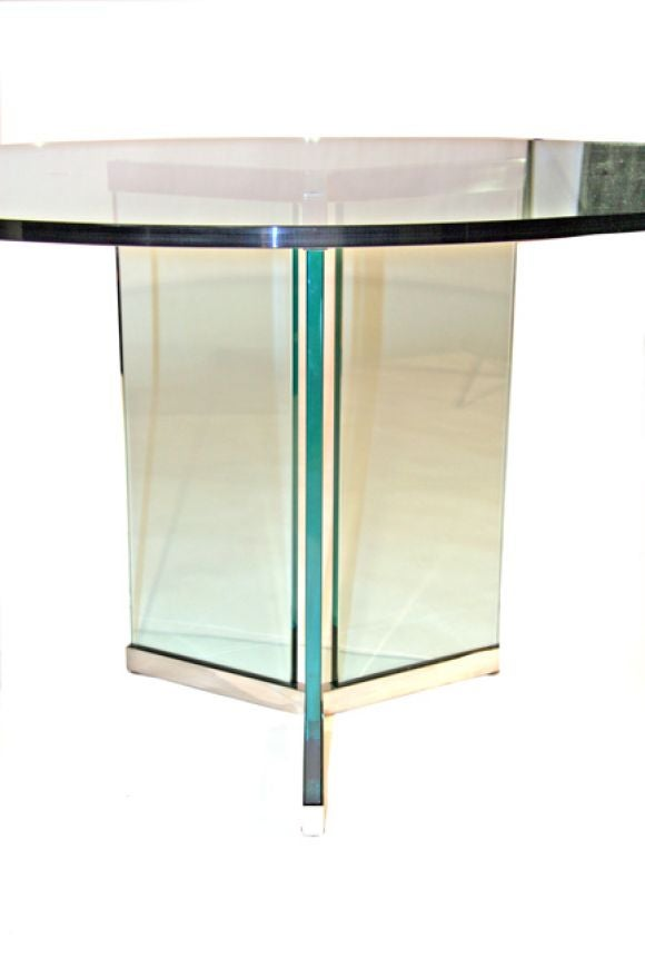 Pace Collection Polished Stainless Steel And Glass Dining