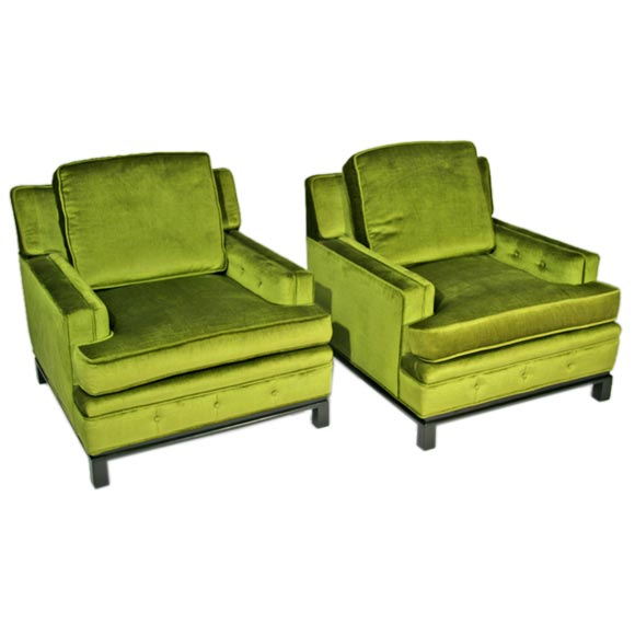 Pair of hans wegner lounge chairs at 1stdibs - Green Velvet Club Chairs With Wood Bases At 1stdibs