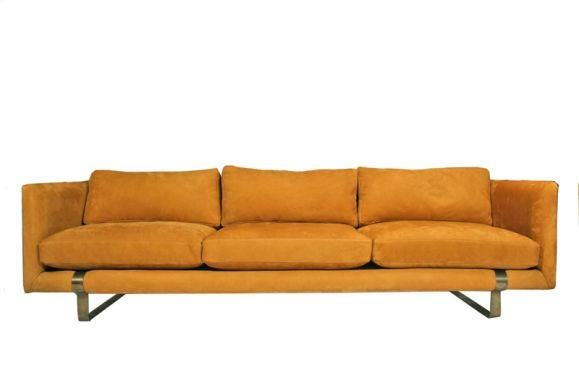 Rust Open Grain Leather And Bronze Tuxedo Sofa At 1stdibs