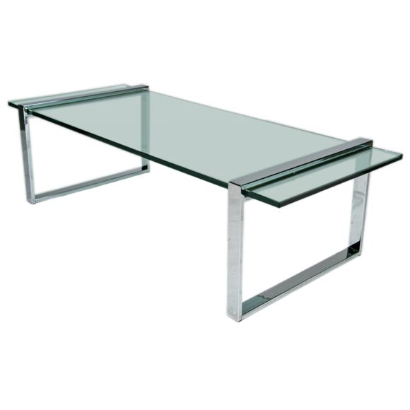 rectangular chrome and glass coffee table at 1stdibs