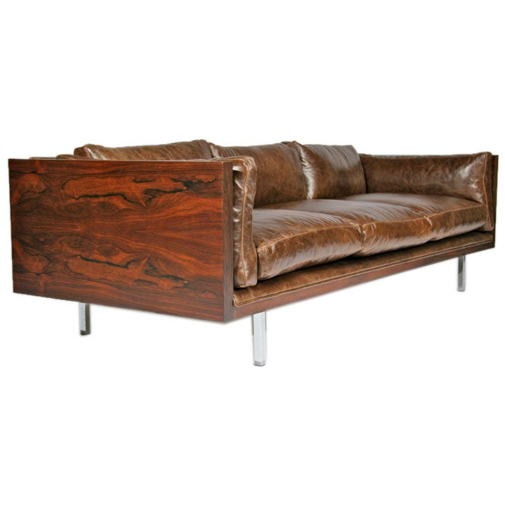Rosewood Sofa By Milo Baughman In Brown Leather At 1stdibs