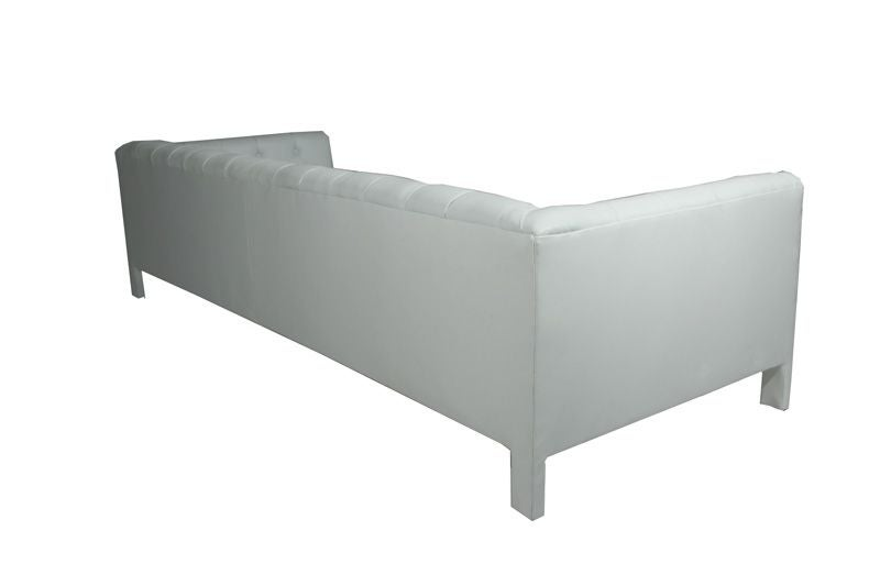 Pair of white leather tufted sofas by Milo Baughman at 1stdibs