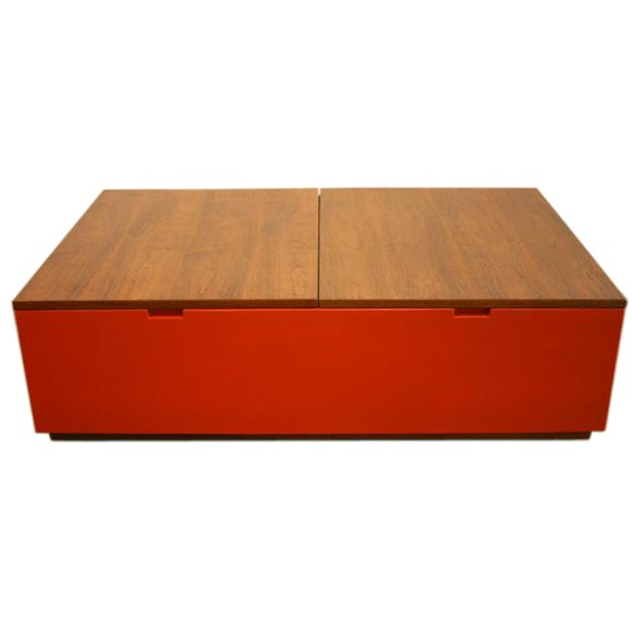 Rolling Coffee Table With Storage: Milo Baughman Rolling Coffee Table With Interior Storage